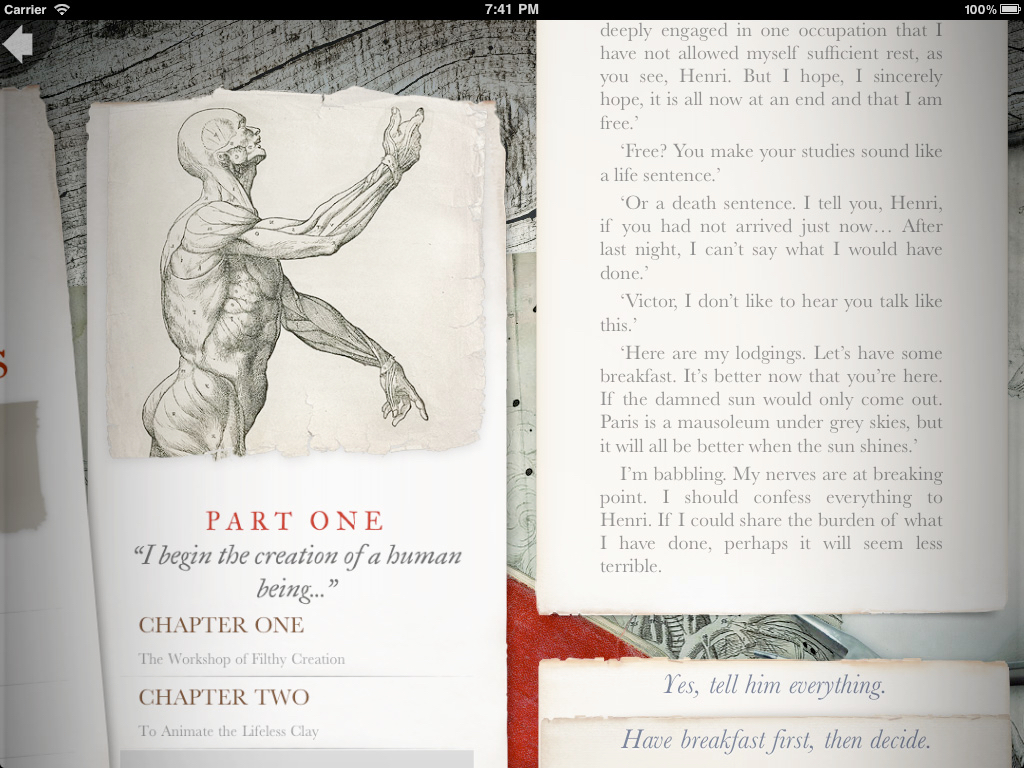 A screenshot from Dave Morris and Inkle Studios iOS app, Frankenstein.