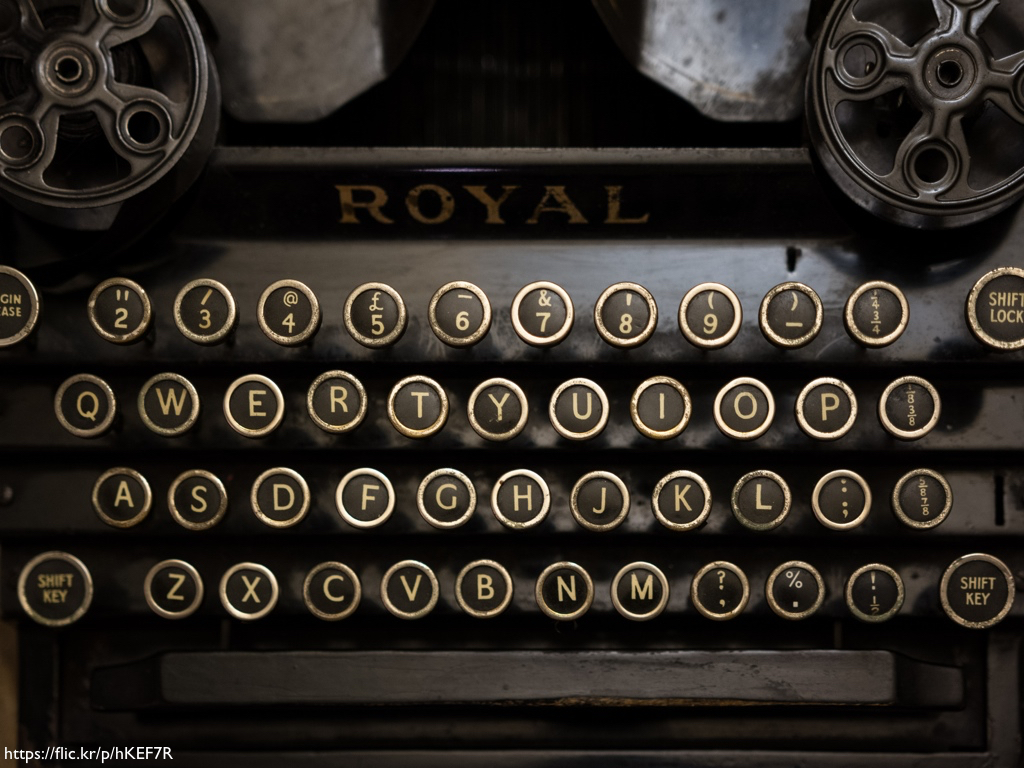 A photograph of an antique Royal typewriter.