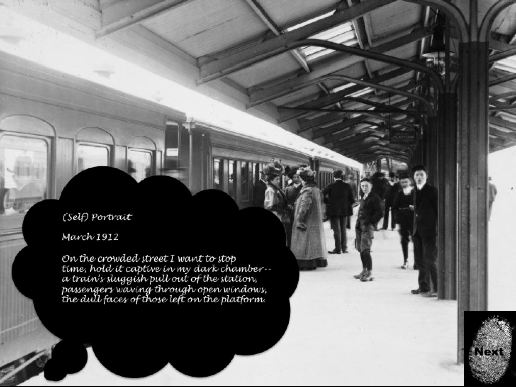 An old black and white photograph of a train station with people boarding the train. A thought bubble with a piece of Ophelia's journal appears on the page, as well as a button to continue the narrative.