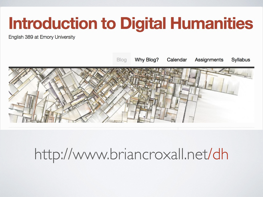 A screenshot of a class blog for 'Introduction to Digital Humanities' and the URL to it, http://www.briancroxall.net/dh